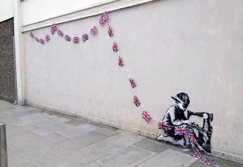 banksy union jack kid 0